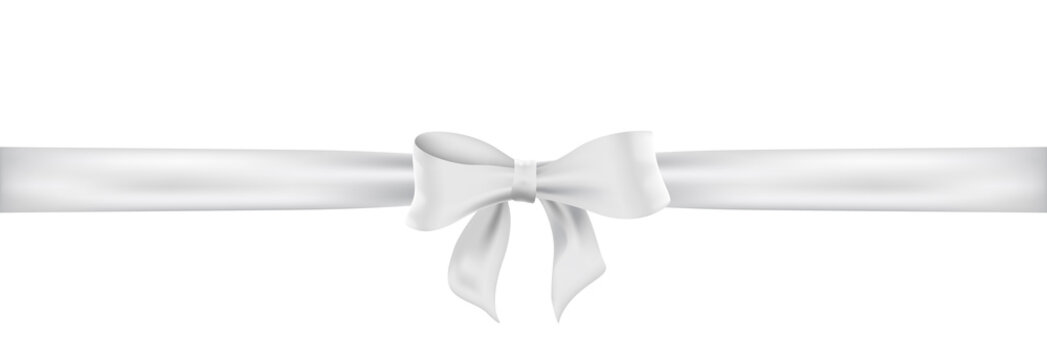 Weiß Schleife. White satin ribbon and bow vector illustration.
