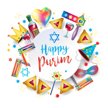 Happy purim jewish holiday greeting card traditional purim symbols. Purim gifts, noisemaker, masque, gragger, wine bottle, hamantachhen cookies, crown, star of david, festival decoration, vector.
