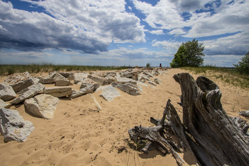 Lake Michigan Beach. Sandy beach along the shores of Lake Michigan in the Upper Peninsula town of Manistique, Michigan.