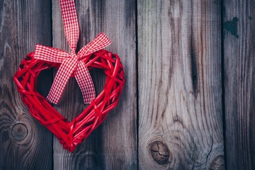Red heart on a wooden background for valentine day