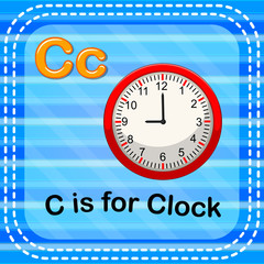 Flashcard letter C is for clock
