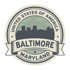 Stamp or label with name of Maryland, Baltimore