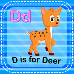 Flashcard letter D is for deer