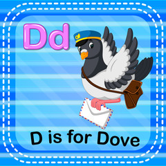 Flashcard letter D is for dove