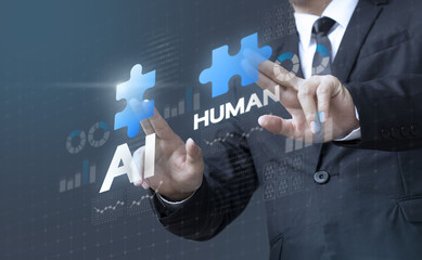 Business man mergers A.I. (Artificial Intelligence) and human