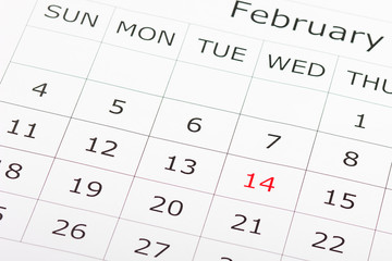 Calendar holiday February 14th Valentine's day is highlighted in red