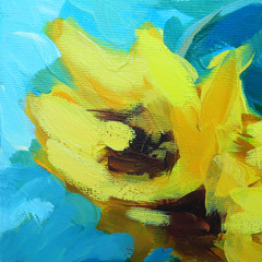 modern painting for interior oil painting on canvas with sunflower, illustration
