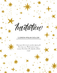 Vector illustration of hand painted stars. White background with watercolor pattern