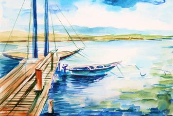 Port nad jeziorem genewskim - ilustracja ręcznie malowana