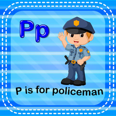 Flashcard letter P is for policeman