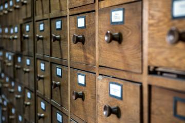 database concept. vintage cabinet. library card or file
