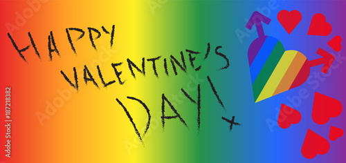 abstract gay valentine day card with hearts formed by male symbols in rainbow colors and text
