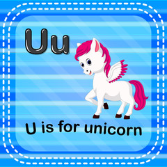 Flashcard letter U is for unicorn