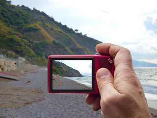 Gulf of Capo Calava at Sicily in camera viewfinder