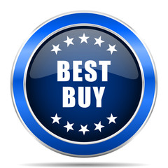 Best buy vector icon. Modern design blue silver metallic glossy web and mobile applications button in eps 10