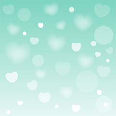 Abstract heart background with soft green color