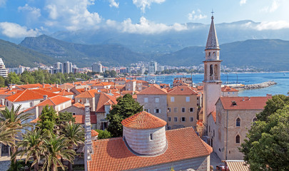 Church of the Holy Trinity from citadel in old town of Budva, Montenegro.