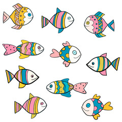 Cute, fun and colorful vector fish drawings with outlines for summer designs