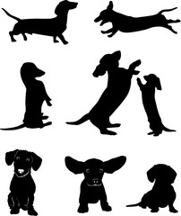 Silhouettes of dachshunds. Vector illustration. Set 1