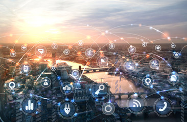 London and river Thames at sunset. Illustration with communication and business icons, network connections concept.