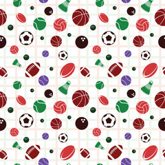 Repeating Seamless Pattern Sport Tennis Basketball Volleyball Rugby Football