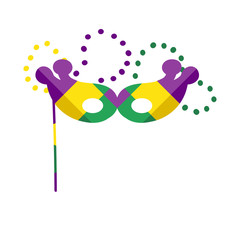 Vector hand drawn illustration for Mardi Gras holiday with harlequin mask and colorful beads isolated on white background.