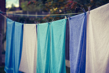 Towels hung to dry