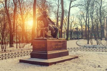 Monument to Pushkin in Tsarskoe Selo in winter