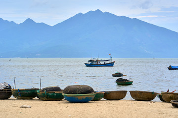 Coracle fishing boats.