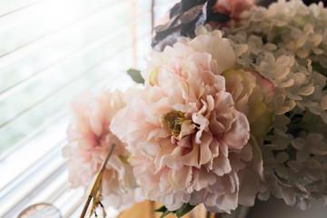 Valentine flower, hydrangea flower in vase near window