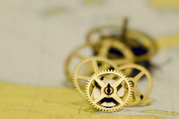 Vintage Golden Clock Gears