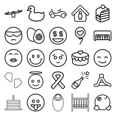 Happy icons. set of 25 editable outline happy icons