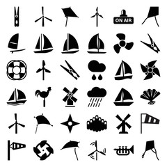 Wind icons. set of 36 editable filled wind icons