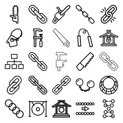 Chain icons. set of 25 editable outline chain icons