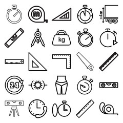 Measure icons. set of 25 editable outline measure icons