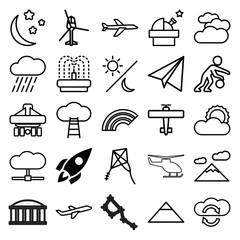 Sky icons. set of 25 editable outline sky icons