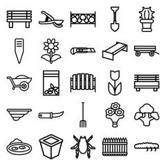 Garden icons. set of 25 editable outline garden icons