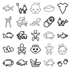 Little icons. set of 25 editable outline little icons