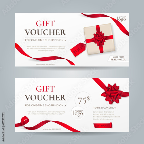 Vector Set Of Elegant Gift Vouchers With Red Ribbons Bows And Gift