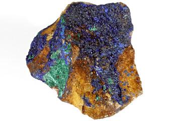 azurite/ malachite found in Morocco  isolated on white background