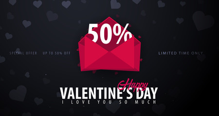 Valentines day sale background. Wallpaper, flyers, invitation, posters, brochure, voucher, banners. Vector illustration.