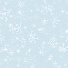 Magic snowflakes seamless pattern on light blue Christmas background. Chaotic scattered magic snowflakes. Ravishing Christmas creative pattern. Vector illustration.