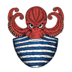 Octopus. Vintage cartoon character. Fantasy octopus sailor, navy, seaman. Creature for t-shirt, badge, logo, poster, emblem