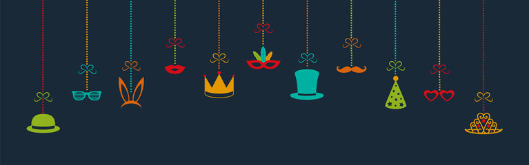 Carnival party, birthday party or photo booth hanging decorations - panoramic header. Vector.