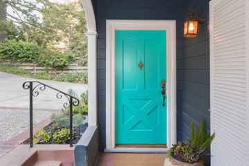 Turquoise Entry Door / Front Door with single cylinder entrance electronic handle-set.