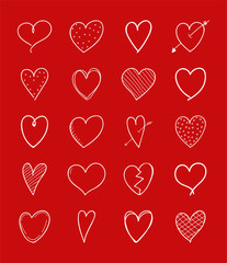 Collection of hand drawn heart icons for Valentine's Day. Vector.