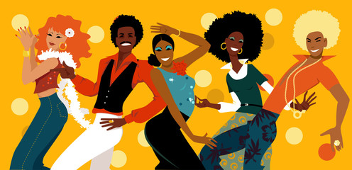 Fototapete - Group of young people dressed in 1070s fashion dancing in a disco club, EPS 8 vector illustration
