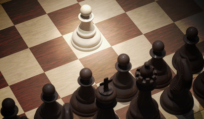 Chess opening move - pawn in center of board. View from top. 3D rendered illustration.