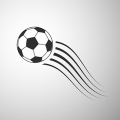 Flying football flat icon. Soccer ball vector illustration on gray background