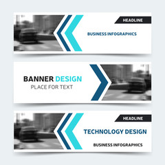 Horizontal business banner templates. Vector corporate identity design, technology background layout. Modern blue website headers, eps10